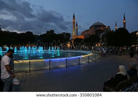 ISTANBUL, TURKEY - AUGUST 08, 2015: The exterior of Hagia Sophia shot at dusk, located in Istanbul, Turkey.  It was constructed in 537 by Byzantine Emperor Justinian I. - stock photo