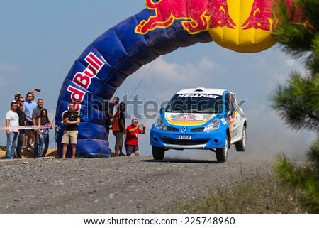 ISTANBUL, TURKEY - AUGUST 17, 2014: Todor Slavov drives Renault Clio R3 car of Bulbet Rally Team in Avis Bosphorus Rally, Gocbeyli Stage - stock photo