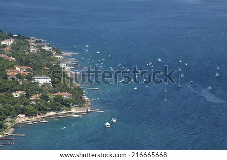 ISTANBUL, TURKEY, AUGUST 20, 2014: View over istanbul and buyukada island taken from the monastery of saint george on the top of buyukada island - part of princes islands - in turkey. - stock photo