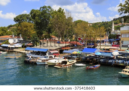 ISTANBUL, TURKEY, AUGUST 24, 2015: View over marina in kavagi village,Istanbul.