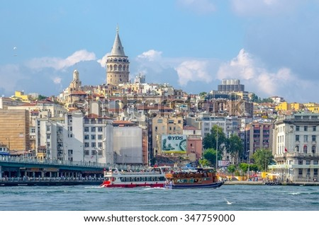 ISTANBUL, TURKEY, AUGUST 22, 2014: View over skyline of istanbul - beyoglu district - dominated by the famous galata tower.