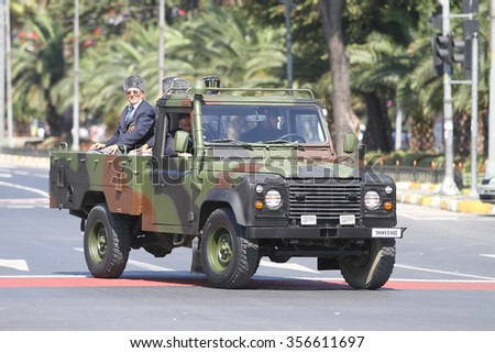 ISTANBUL, TURKEY - AUGUST 30, 2015: War veterans during 93th anniversary of 30 August Turkish Victory Day parade on Vatan Avenue