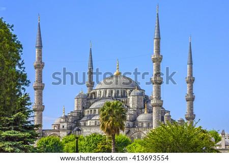 Istanbul, Turkey. Blue mosque Sultanahmet - stock photo
