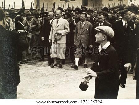 ISTANBUL-Turkey,Cir ca 1930's :Mustafa Kemal Ataturk founder Turkish Republic .Ataturk visiting Anatolia.Circa 1930's  - stock photo