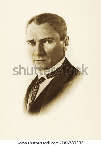 ISTANBUL-Turkey,Cir ca 1920's :Mustafa Kemal Ataturk founder Turkish Republic .Circa 1930's  - stock photo