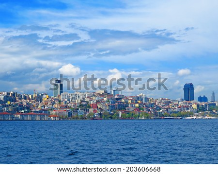 ISTANBUL, TURKEY -- CIRCA APRIL 2014: View from the Bosphorus to the new quarters of the European side of the city - stock photo