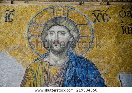 ISTANBUL,TURKEY - CIRCA AUGUST, 2012-  Mosaic of Jesus Christ in the old church of Hagia Sophia in Istanbul, Turkey - stock photo