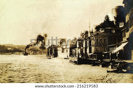 ISTANBUL, TURKEY - CIRCA 1900's :Cityscape in old Istanbul, Bosphorus Strait and Asian Side on the other shore