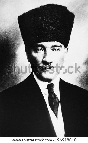 ISTANBUL-Turkey,Circa 1920's :Mustafa Kemal Ataturk founder Turkish Republic .Circa 1920's  - stock photo