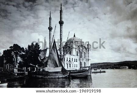ISTANBUL-Turkey,Circa 1920's :Old ortakoy mosque in istanbul.Circa 1920's - stock photo
