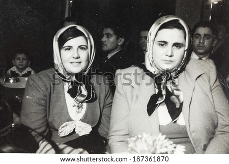 ISTANBUL-Turkey,Circa 1960's :Turkish women looking at camera.
