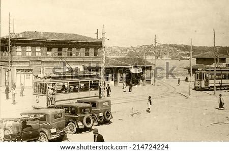 ISTANBUL, TURKEY - CIRCA 1900's :Vintage cityscape of Istanbul.Turkey, circa 1900s.  - stock photo