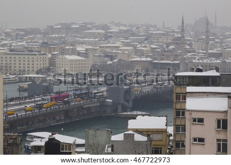 ISTANBUL,TURKEY - DEC 31, 2015: Panoramic view of Istanbul in winter day on December 31,2015 in Istanbul,Turkey. A view from above over the roof of Istanbul city cover with snow