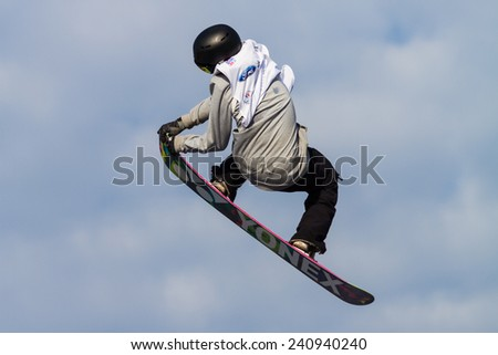ISTANBUL, TURKEY - DECEMBER 20, 2014: Antoine Truchon jump in FIS Snowboard World Cup Big Air. This is first Big Air event for both, men and women. - stock photo
