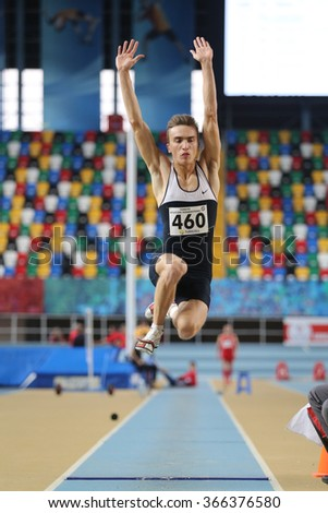 ISTANBUL, TURKEY - DECEMBER 26, 2015: Athlete Ertan Ozkan long jumpes during Turkish Athletic Federation Indoor Athletics Record Attempt Races