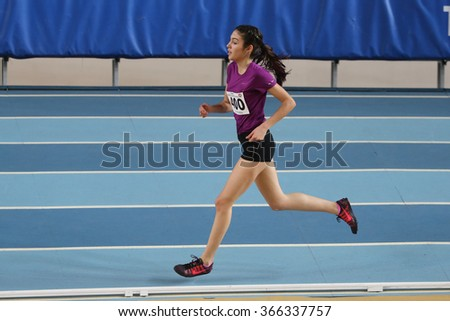 ISTANBUL, TURKEY - DECEMBER 26, 2015: Athlete Yaren Aydin runs during Turkish Athletic Federation Indoor Athletics Record Attempt Races