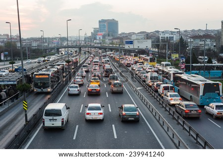 ISTANBUL, TURKEY - DECEMBER 16: BAHCELIEVLER district in istanbu. Metrobus, a part of public transportation system, eases the traffic in Istanbul on DECEMBER 16, 2014 in Istanbul, Turkey - stock photo