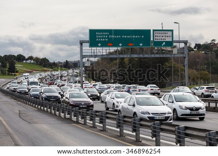 ISTANBUL TURKEY - DECEMBER 3, 2015 : Bosphorus bridge traffic - stock photo