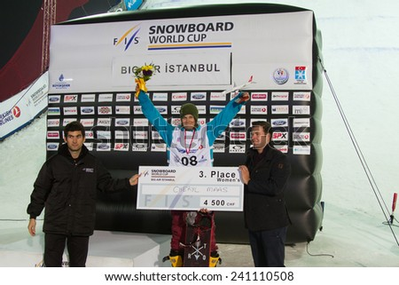 ISTANBUL, TURKEY - DECEMBER 20, 2014: Cheryl Maas in third place of Womans FIS Snowboard World Cup Big Air. This is first Big Air event for both, men and women.