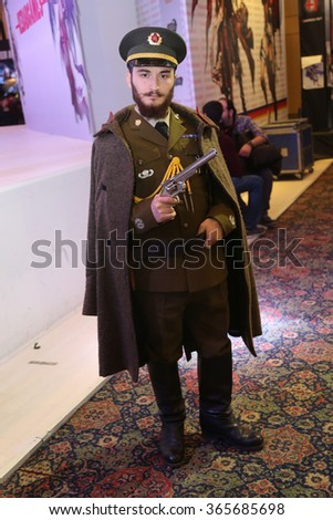 ISTANBUL, TURKEY - DECEMBER 20, 2015: Cosplayer in military costume during Gamex game fair in Lutfi Kirdar International Convention and Exhibition Center