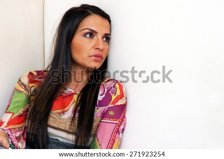 ISTANBUL, TURKEY - DECEMBER 18: Famous Turkish actress, show host and television series star Ebru Akel portrait on December 18, 2005 in Istanbul, Turkey. - stock photo
