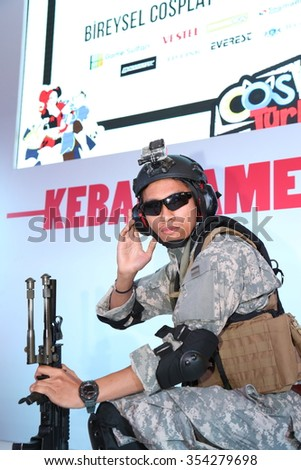 Istanbul, Turkey; December 20, 2015: First Person Shooter Cosplay at Gamex video games event.