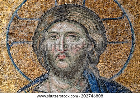 ISTANBUL, TURKEY - DECEMBER 21: Jesus Christ, a Byzantine mosaic detail in the interior of Hagia Sophia, on December 21, 2013 in Istanbul. - stock photo