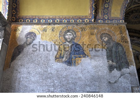 ISTANBUL, TURKEY - DECEMBER 2, 2014: Jesus Christ, a Byzantine mosaic in the interior of Hagia Sophia in Istanbul. - stock photo