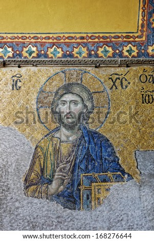ISTANBUL, TURKEY - DECEMBER 21: Jesus Christ, a Byzantine mosaic in the interior of Hagia Sophia, on December 21, 2013 in Istanbul. - stock photo