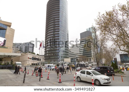 Istanbul, Turkey - December 8, 2015: Modern district of Levent, Istanbul. Levent is a financial center of the city with skyscrapers, shopping malls and business offices. Taken on December 8, 2015.