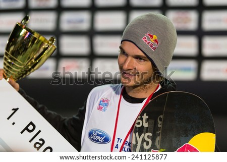 ISTANBUL, TURKEY - DECEMBER 20, 2014: Seppe Smits is winner of mans FIS Snowboard World Cup Big Air. This is first Big Air event for both, men and women.