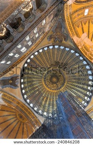 ISTANBUL, TURKEY - DECEMBER 2, 2014: The Hagia Sophia (also called Hagia Sofia or Ayasofya) interior architecture, famous Byzantine landmark and world wonder in Istanbul, Turkey.