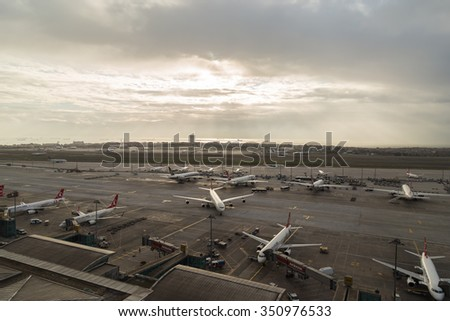 Istanbul, Turkey; December 11, 2015: Turkish Airlines Airbus A 340 is preparing for boarding