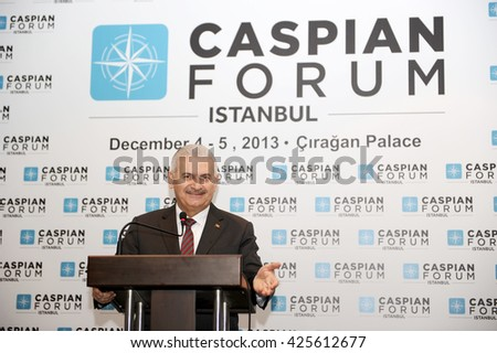 ISTANBUL/TURKEY - DECEMBER 5: Turkish transportation minister Binali Yildirim is talking in the press meeting on december 5 , 2013.