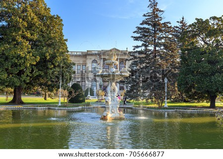 ISTANBUL, TURKEY -FEB 1, 2013: Fountain garden in Dolmabahce Palace. Dolmabahce is the largest palace in Turkey and one of the most glamorous palaces in the world.