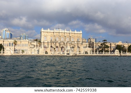 ISTANBUL, TURKEY -FEB 1, 2013: Main building of Dolmabahce Palace on the European coast of the Bosphorus strait. Dolmabahce is one of the most glamorous palaces in the world.