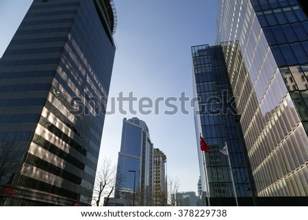 Istanbul, Turkey - February 2, 2016: A panoramic view of Maslak, the financial center of Istanbul on February 2, 2016.