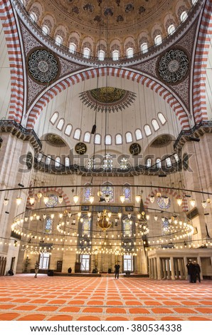 ISTANBUL, TURKEY - FEBRUARY 22, 2016: An interior view of Suleymaniye Mosque (Suleymaniye Camisi), Istanbul, Turkey