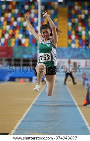 ISTANBUL, TURKEY - FEBRUARY 06, 2016: Athlete Ilayda Bulut triple jumps during Turkish Athletic Federation Clubs Indoor Championship
