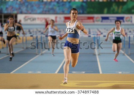 ISTANBUL, TURKEY - FEBRUARY 06, 2016: Athletes running steeplechase during Turkish Athletic Federation Clubs Indoor Championship