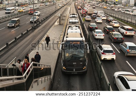 ISTANBUL, TURKEY - FEBRUARY 03: Cevizlibag district in Istanbul. Metrobus, a part of public transportation system, eases the traffic in Istanbul on FEBRUARY 03, 2015 in Istanbul, Turkey