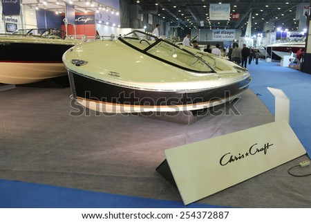 ISTANBUL, TURKEY - FEBRUARY 14, 2015: Chris Craft Capri 21 motor boat in 8. CNR Eurasia Boat Show, CNR Expo