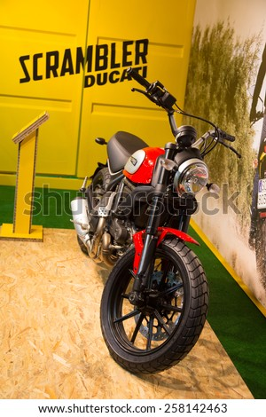 ISTANBUL, TURKEY - FEBRUARY 28, 2015: Ducati Scrambler in Eurasia Moto Bike Expo in Istanbul Expo Center