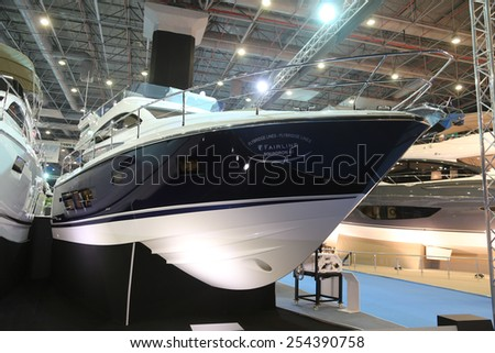 ISTANBUL, TURKEY - FEBRUARY 14, 2015: Fairline Squadron 42 motoryacht in 8. CNR Eurasia Boat Show, CNR Expo