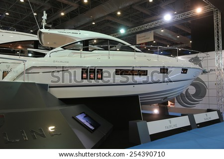 ISTANBUL, TURKEY - FEBRUARY 14, 2015: Fairline Targa 38 motoryacht in 8. CNR Eurasia Boat Show, CNR Expo