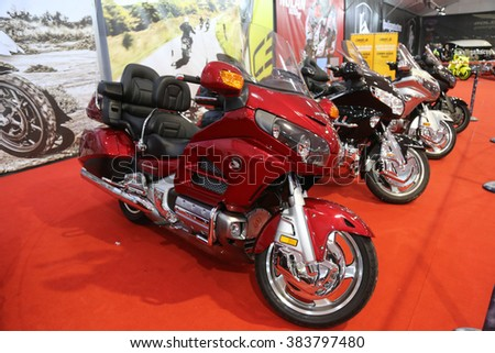 ISTANBUL, TURKEY - FEBRUARY 25, 2016: Honda Goldwing on display at Moto Bike Expo in Istanbul Exhibition Center