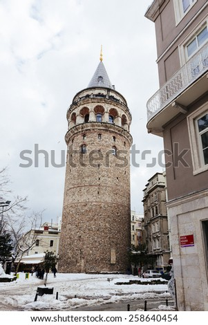 ISTANBUL, TURKEY - FEBRUARY 19, 2015:istanbul winter a day.Galata tower in istanbul