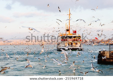 ISTANBUL, TURKEY - FEBRUARY 19, 2015: Istanbul winter a day. Istanbul ferry sailing in to Bosporus Sea in winter - stock photo