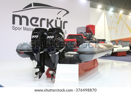 ISTANBUL, TURKEY - FEBRUARY 13, 2016: Lomac Adrenalina 9.5 boat on display at 9th CNR Eurasia Boat Show in CNR Expo Center