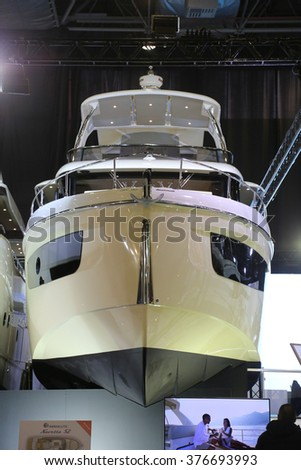 ISTANBUL, TURKEY - FEBRUARY 13, 2016: Navetta 52 yacht on display at 9th CNR Eurasia Boat Show in CNR Expo Center